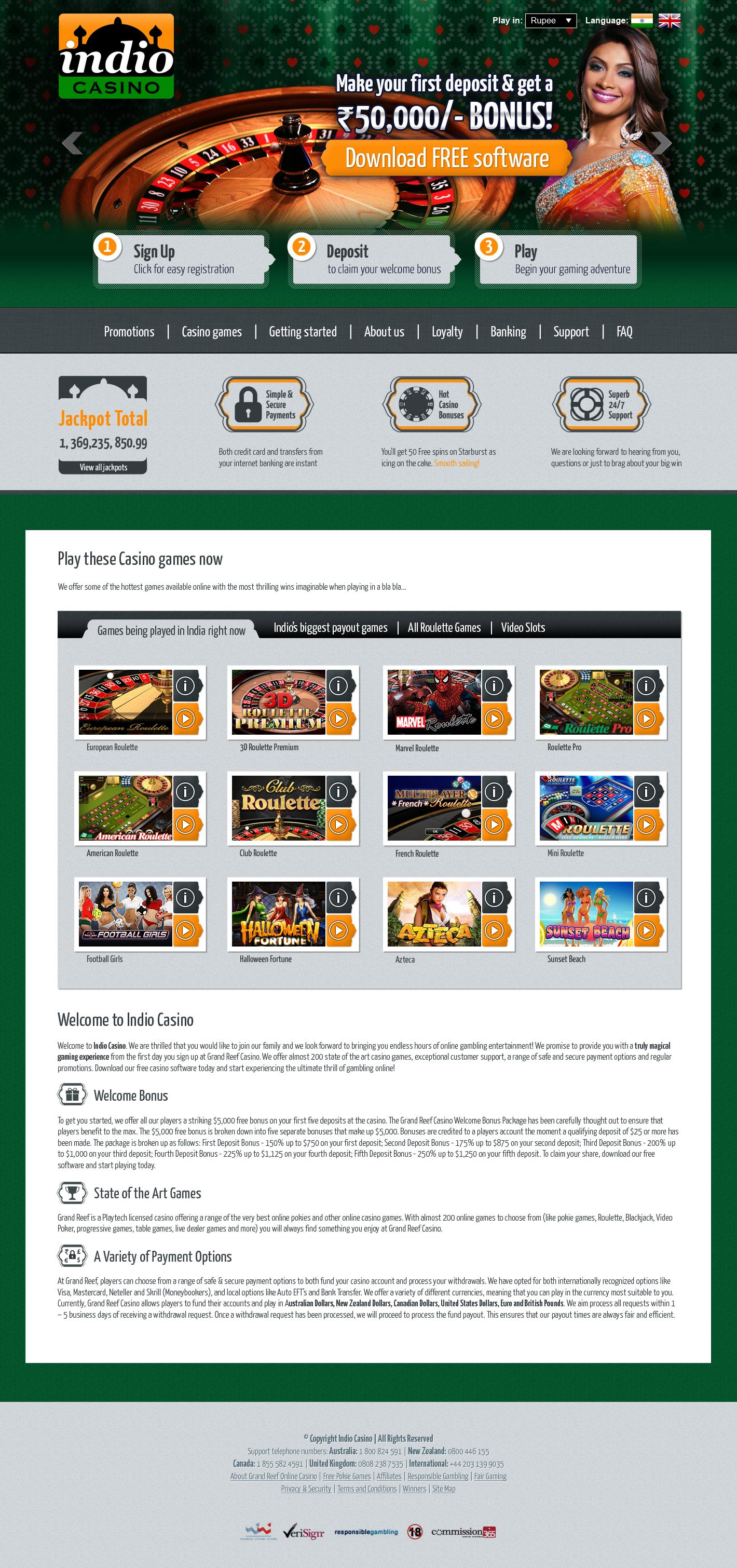 Design for Indio Casino Website