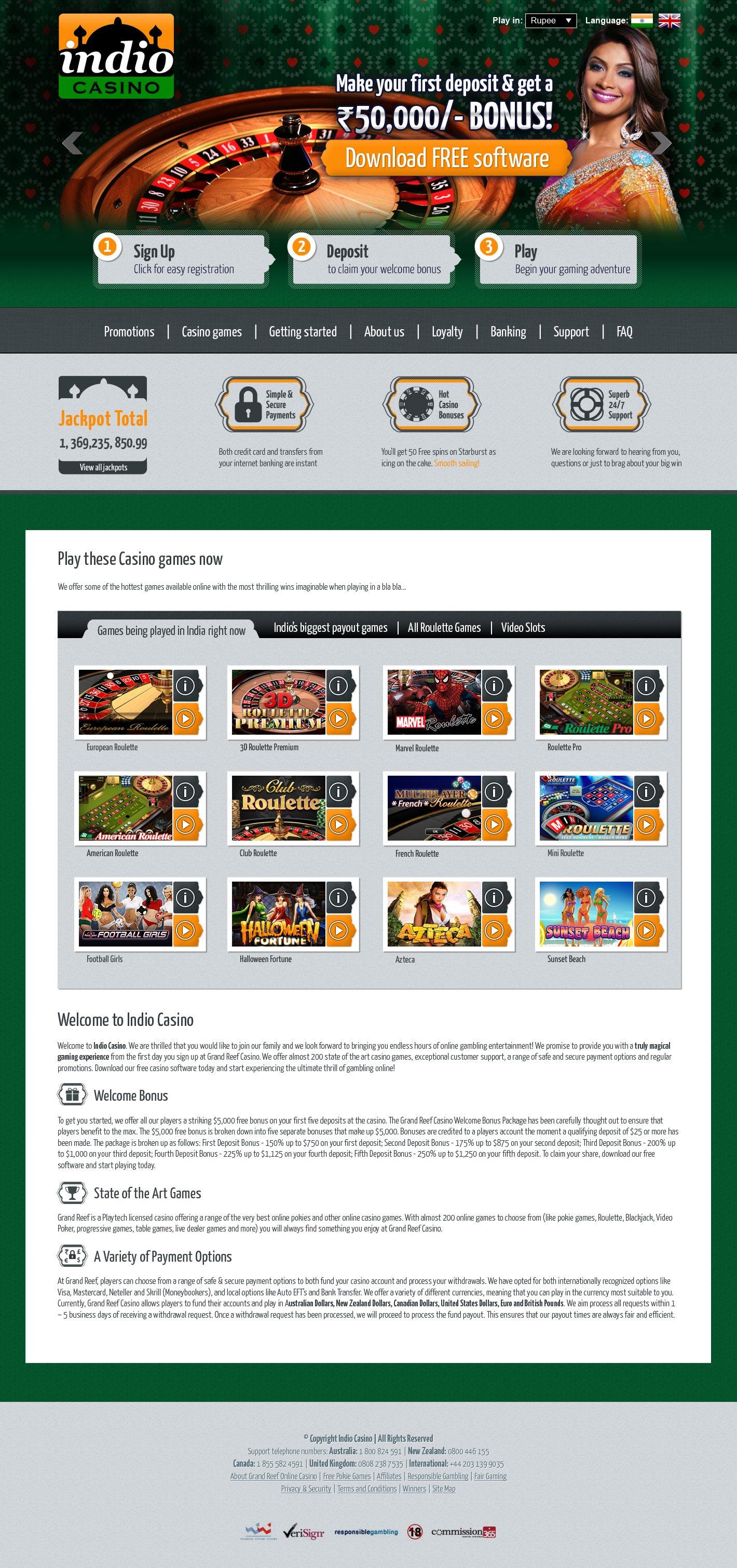Design for Indio Casino Website