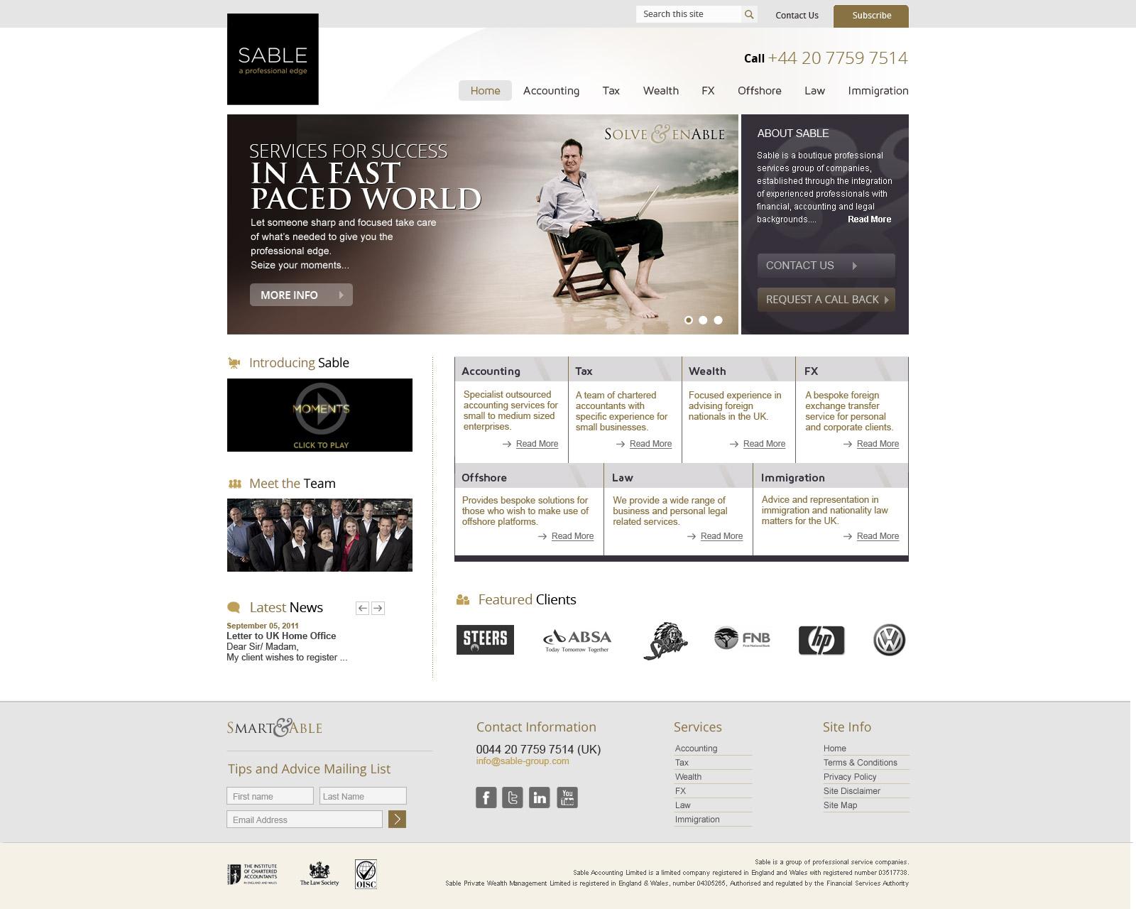 Design for Sable Group website